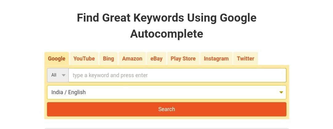 Free seo tools - Keyword Tool