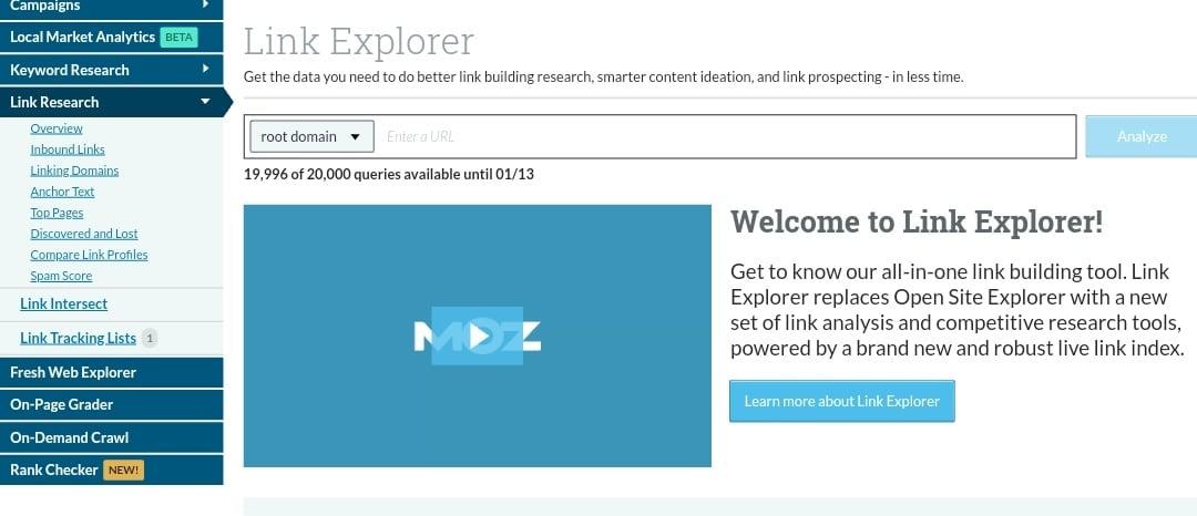 Free seo tools - MOZ Link Explorer